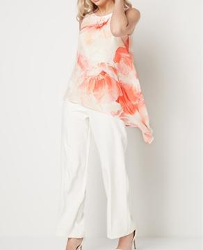 Roman Originals Floral Chiffon Overlay Jumpsuit