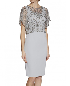 Gina Bacconi Crepe Dress with Beaded Top