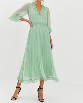 ASOS DESIGN Pleated Midi Dress with Lace Inserts