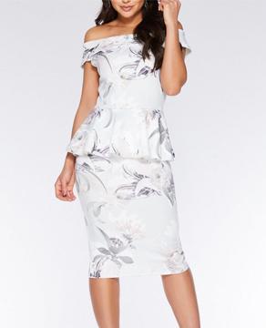 Dorothy Perkins Quiz Peplum Bardot Dress