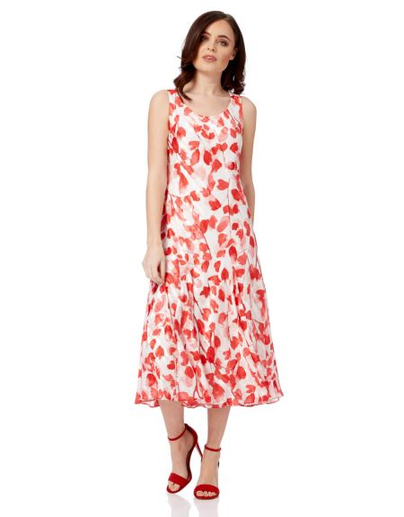 Poppy Print Bias Cut Dress