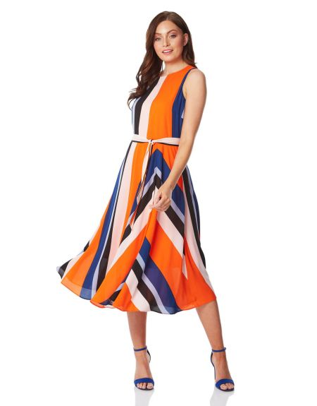 Pleated Stripe Fit and Flare Dress
