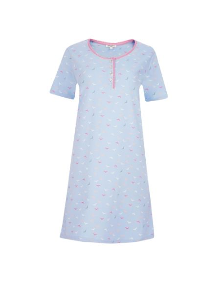 Henley Neck Bird Sleep Tee Shirt