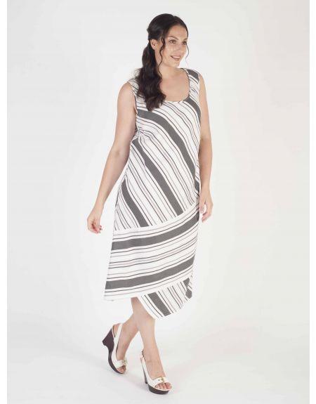 White/Blck Diagonal Stripe Linen Mix Dress