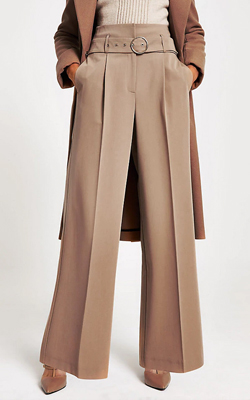 River Island Brown Wide Leg Trousers Cruise