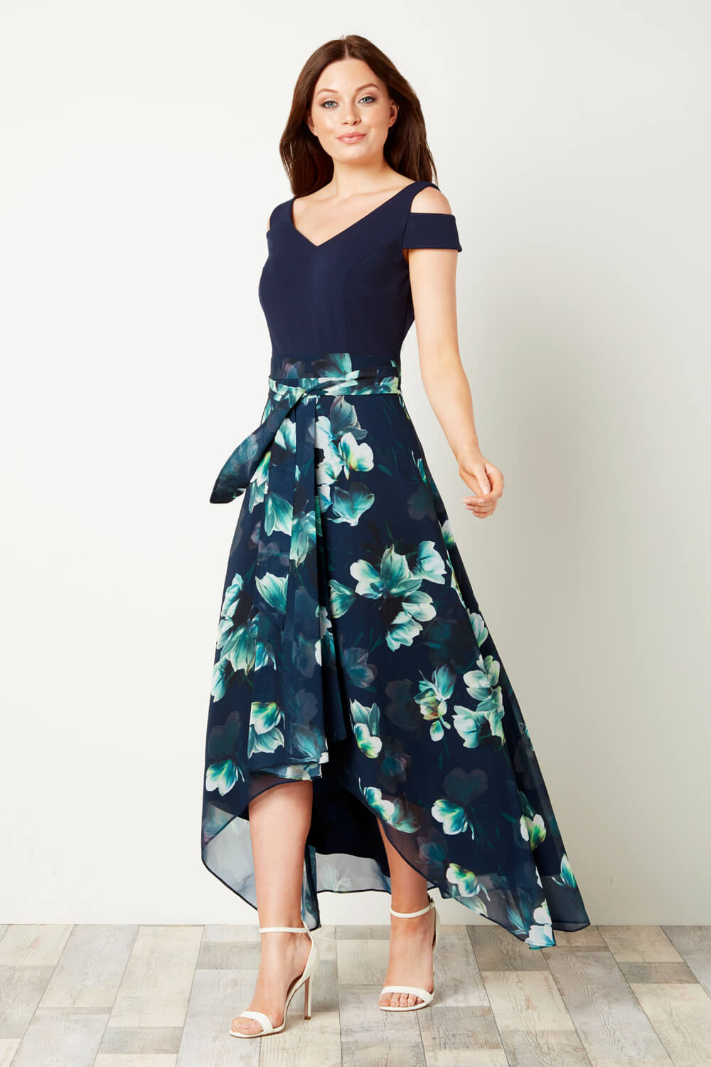 Navy Floral Midi Dress for Over 60s