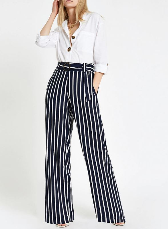 Black and White Stripe Wide Leg Trousers for Over 60s