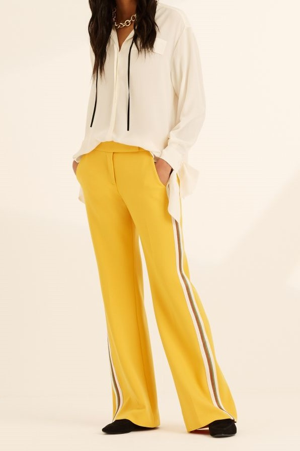 Yellow Side Stripe Wide Leg Trousers for Over 60s