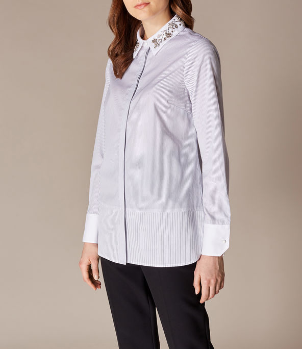 Embroidered Collar Pinstripe Shirt for Over 60s
