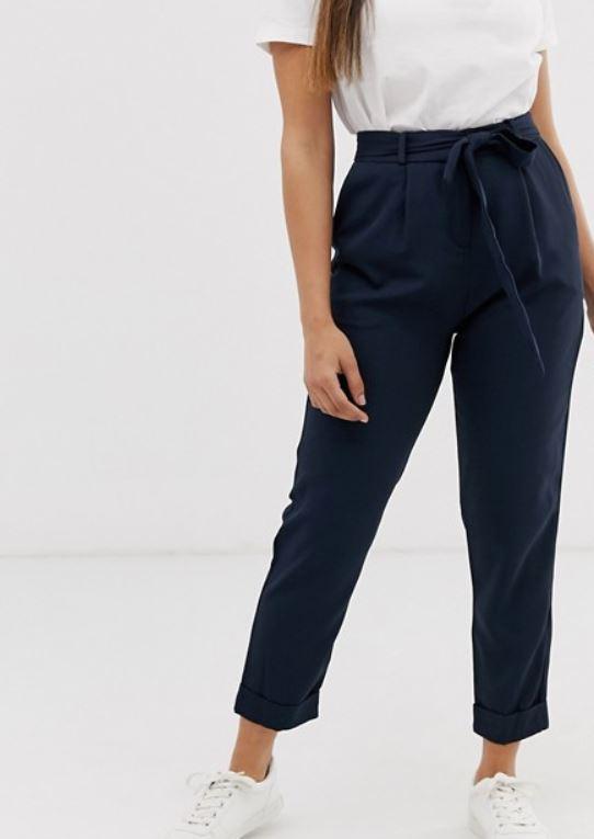 asos design petite woven peg leg trousers with obi tie responsible sustainable