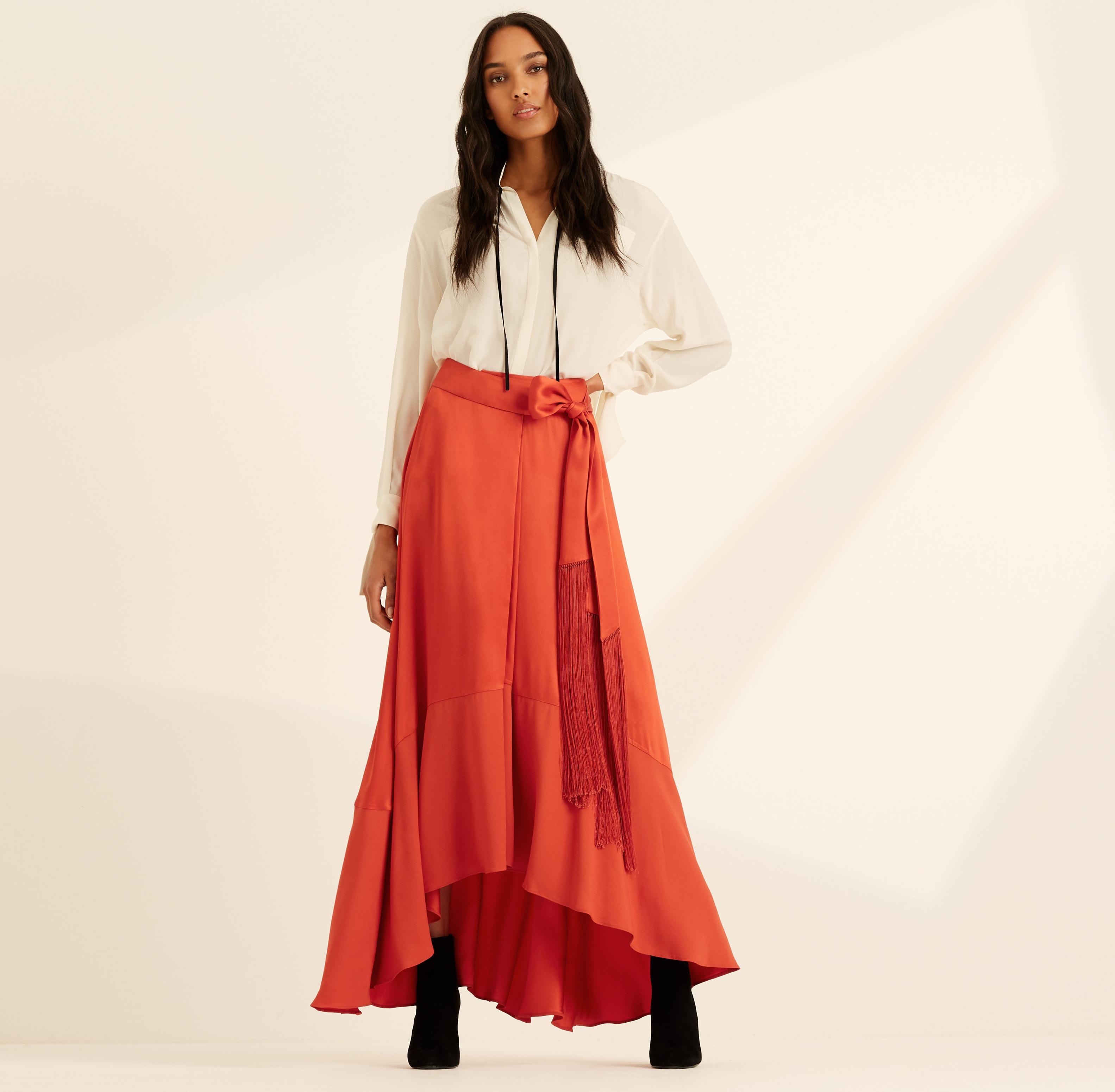 Amanda Wakeley Spice Tie Satin Skirt