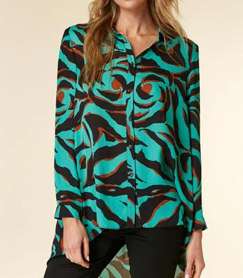 Wallis Turquoise Animal Print Shirt