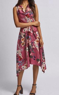 Billie & Blossom Petite Rose Floral Print Midi Dress MotB Dorothy Perkins