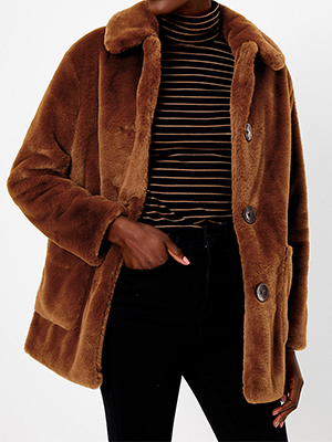 Marks & Spencer Punk Fur Coat Brown Chocolate