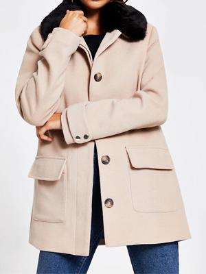 River Island Punk Fur Collar Coat