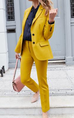 Boden Mustard Blazer Trouser Suit Interview