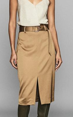 Reiss Gold Satin Belted Skirt Interview