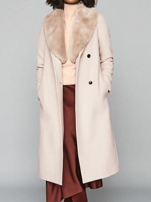 Reiss Fur Shawl Coat