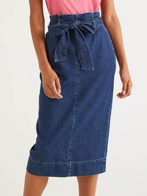 Denim Paperbag Midi Skirt