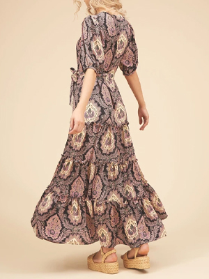 FELICITATIONS PAISLEY PRINT MAXI DRESS IN BLACK AND PURPLE